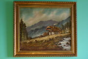 Vintage Landscape Oil Painting-swiss Cabin By The Creek Artist Signed
