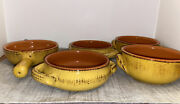 De Silva Pottery Set Of 5 Soup And Chili Bowls Yellow With Black Handled