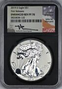 2019 S Silver Eagle Ngc Enh Rev Pf 70 - First Releases - Mercanti Hand Signed