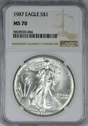 1987 American Silver Eagle Ngc Ms70 - Quite Scarce In Ms70