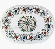Marble Dining Table Top Inlay Floral Pattern Hallway Table For Home 36 X 48 Inch