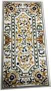 Marble Coffee Table Top Inlay Floral Design Dining Table For Home 30 X 60 Inches