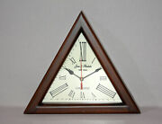 Antique Vintage Wooden Jones And Hendricks Triangle Wall Decor Clock Collectible