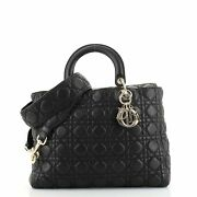 Christian Dior Lady Dior Bag Cannage Quilt Grained Calfskin Large