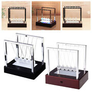 Newtons Cradle Glass Balance Balls Science Gadget Led Swinging Wave For Home