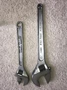 """Snap On Tools 12"""" And Blue Point 15"""" Chrome Adjustable Crescent Wrenches Set"""