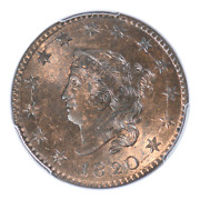 1820 Coronet Head Cent Large Date Pcgs Ms64rb