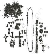 Large Rare Collection Of Victorian Jet Jewelry Elements And Other Beads Ca. 1900