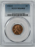 1931 S Lincoln Wheat Cent Penny 1c Pcgs Ms 64 Rb Red Brown - Mint Unc 983