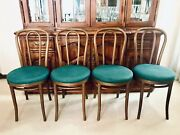 Set Of Four 4 Thonet No. 18 Classic Bentwoodandnbspcafe Bistro Chairs Green Cushions