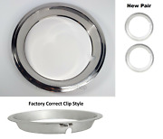 Pair Of Beauty Rings W/ Factory Correct Clips For 14x6 Gm Rally Wheels 1967-69