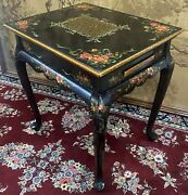 Vintage Oriental Hand Painted Reversible Top Game Leather Table Storage 1940and039s