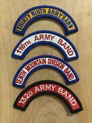 Lot Of 4 Us Army Band Tab Arc Patches 39th, 116th, 10th Mountain, 132d