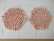 New 2 Loom Woven Round Table Doilies Crocheted Thread Coral And White 8-9andrdquo