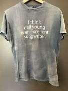 Vintage Neil Young T-shirt Extremely Rare Holes Fading Single Stitch