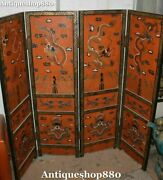 120cm Huge China Old Wood Lacquerware Dragon Dragons Folding Screen Statue