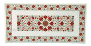 Marble Coffee Table Top Carnelian Gemstones Inlaid Center Table 24 X 48 Inches
