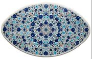 Marble Coffee Table Top Inlay Lapis Lazuli Gemstones Patio Table 30 X 48 Inches