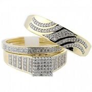 Yellow Gold Over Diamond Wedding Trio His Her Bridal Band Engagement Ring Sets