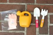 Vintage Discontinued Little Tikes Gardening Gloves Watering Can And 2 Tools Set