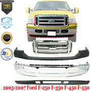 Front Bumper Chrome + Grille + Upper And Lower Cover For 2005-2007 Ford F250 F350