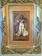 Two Beautiful Rare Relief Wooden Sculpture Statue Sexy Woman And Frame Vintage