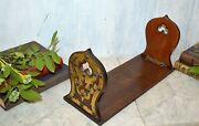 Antique English Mahogany Brass Book Rest Rack Bookends Gothic Trefoils Nailheads