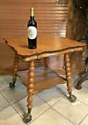 Antique Oak Lamp Parlor Table Huge Claw And Glass Ball Feet Claw Foot