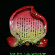 7 Qianlong Marked China Wucai Porcelain Peach Poetry Text Tray Dish Plate