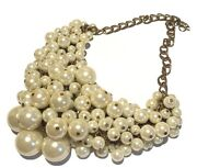 Vintage Faux Pearl Large Cluster Bib Artisan Necklace Brass Link Clasp Chain