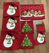 Lot Of 7 Crate And Barrel Christmas Snowman Pillow Covers And Stocking Set - Wool
