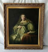 Antique Style Portrait Oil Painting Judith At The Banquet After Rembrandt O/c