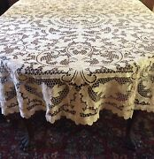 Vintage Cream Pointe De Venise Lace Tablecloth 78andrdquox 82andrdquo Near Round Hand Made