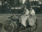 1910 Girls Sitting On Indian Motorcycle Rppc Real Photo Postcard P109