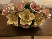 Large Midcentury Capodimonte Porcelain Floral Centerpiece From Italy.