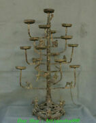 27 Old China Han Dynasty Bronze Ware Tiger Monkey Candle Holder Candlestick