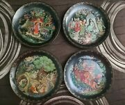 Four Vintage Russian Tianex Collector Decorative Plates
