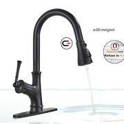 Kitchen Sink Faucet Swivel Spout Pull Down Sprayer With Magnet Mixer Tap+cover