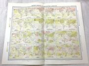 1899 Antique Map Of World Meteorology Temperature Air Pressure Climate Weather