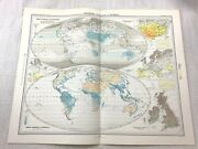 1899 Antique Map Of World Meteorology Clouds Isonephs Isohels Climate Weather