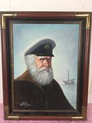 Vintage 1950and039s-60and039s David Pelbam Sea Captain Framed Oil Painting Org