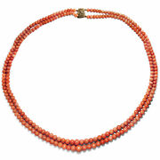 Italy Um 1900 Antique Coral Necklace Lachskoralle Sciacca Chain Necklace