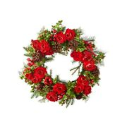 Raz Imports 2021 Christmas Eve 26-inch Mixed Rose And Pine Wreath