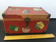Vintage Old Doll Trunk Travel Stickers Wood Paper Metal Corners Leather Strap