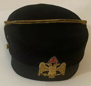 Vintage Scottish Rite 32nd Degree Wings Up 2 Headed Eagle Hat 7 1/2 Size