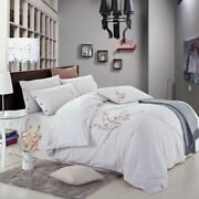 4pcs Yarn-dyed Washed Cotton Embroidered Home Textile Bedding Set Duvet Cover