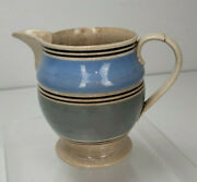 Antique Blue And Brown Banded Mochaware Mocha Staffordshire Pitcher Fb5