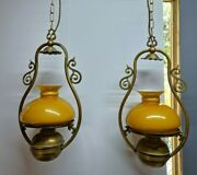 Antique Pair X2 Hanging Aladdin Brass Gas Ceiling Lamp Glass Bowl Converted