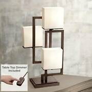 Modern Table Lamp With Table Top Dimmer Bronze Square Glass Living Room Bedroom