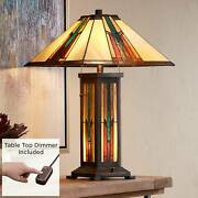 Style Night Light Table Lamp With Table Top Dimmer Stained Glass Bedroom